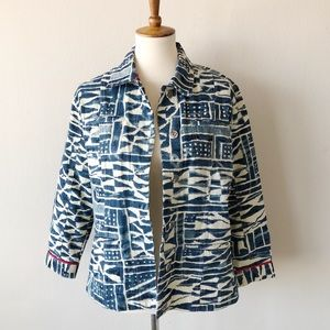 Chico's Indigo Tribal Aztec Denim Jacket Size 1